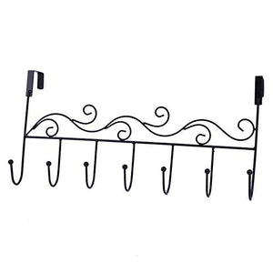 Lilongjiao Over the Door 7 Hook Rack - Decorative Organizer Hooks for Clothes, Coat, Hat, Belt, Towels - Stylish Over Door Hanger for Home or Office