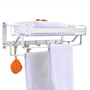 Ping Bu Qing Yun Space Aluminum Bathroom Rack Wall Mounted Bathroom Towel Rack Towel Rack Basket Double Pole 2 Layer Pendant56.5cm54cm22cm Towel Rack