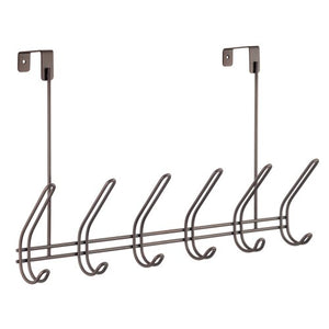 InterDesign Classico Over Door Organizer Hooks – 6 Hook Storage Rack for Coats, Hats, Robes or Towels, Bronze