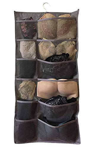 Durable Hanging Closet Underwear Organizer, Double Sided Bra Stockings Socks Organizer,30 Mesh Pockets (Gray)