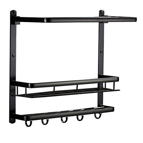 Ping Bu Qing Yun Space Aluminum Bathroom Shelf Black Bathroom Shelf Towel Rail Wall Mount Double Towel Hanger Aluminum Towel Holder (Modern Atmosphere) Advanced Material 480mm 500mm 220mm Towel ra