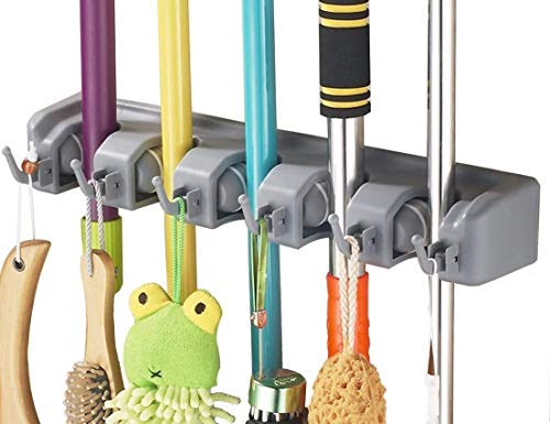 Mop and Broom Holder Wall Mount, Utility Storage Hooks Multi-Used in Kitchen, Garage, Outdoor Yard By W.O.B (2)