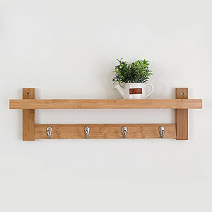 Coat Rack Bamboo Wall Mount Shelf Coat Hook Rack Unibody Construction with Alloy Hooks for Hallway Bedroom,Kitchen,Bathroom and Home Decoration,Natural,4Hook