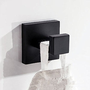 JYPHM Towel Hook Over Door Single Towel Coat Hook Wall Mounted Stainless SteelSquare Style Black