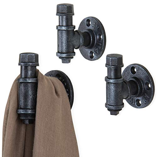MyGift Industrial Wall-Mounted Metal Pipe Fitting Coat Hooks Hangers Garment Holders, Set of 3