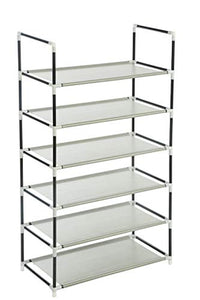 Homebi Metal Shoe Rack Shoes Storage Organizer Entryway Metal Shoe Shelf Holds (Grey 6-Tier)