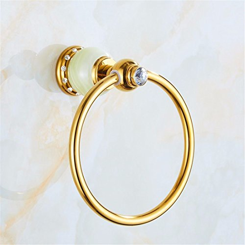 LAONA Euro-copper Jade Belt drill gold bath towel rack Bathroom Wall-pack racks, Towel Ring