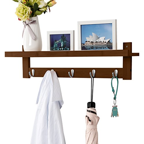LANGRIA Coat Rack Shelf, Coat Rack Wall-Mounted Bamboo Wooden Hook Rack with 5 Metal Hooks and Upper Shelf for Storage Scandinavian Style for Hallway Bathroom Living Room Bedroom, Bamboo Brown Color