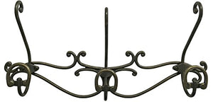 Headbourne 16-Inch Over The Door Metal Rail/Coat Rack with 3 Double Hooks and Antique Bronze Finish