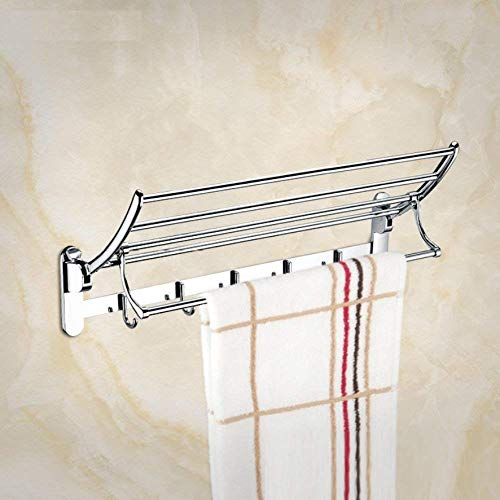 LGSYSYP Bathroom accessories/folding belt hook double wall hanging towel rack decorative pendant stainless steel chrome bathroom towel rack indoor towel rack towel towel rack storage rack towel/t