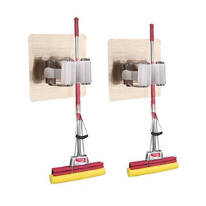 Guzack 2 Pack Broom Mop Holder,Self Adhesive Broom Gripper Holds with Spring Clip Reusable No Drilling Super Anti-Slip Wall Mounted Storage Tool Rack Storage Organization (Holds Up to 11 Pounds)