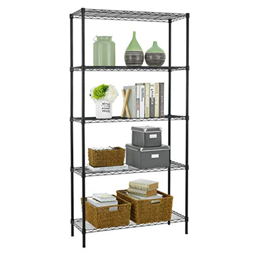 5 Shelf Wire Shelving Unit Garage NSF Metal Shelf Organizer Large Storage Shelves Heavy Duty Height Adjustable Utility Commercial Grade Steel Layer Shelf Rack 1250 LBS Capacity -14x36x72,Black