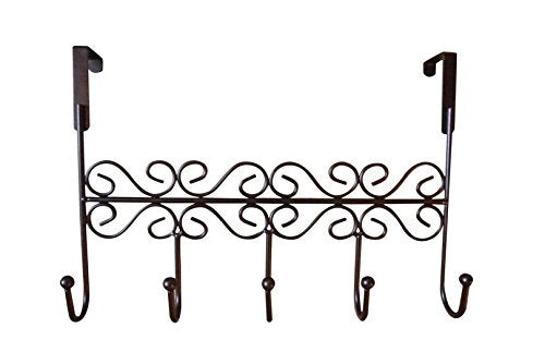 Dream2life Over the Door 5 Hook Rack - Decorative Hanger for Hanging Your Clothes - Coat - Hat Belt - And More - Stylish Organizer for Your Home or Office - Best Lifetime Guarantee