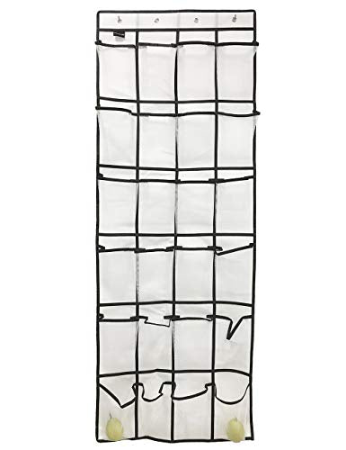 FMing Door Shoe Organizer Storage, Over The Door Organizer, Door Shoe Rack, Hanging Organizer Mesh Pocket, Shoe Hanger Kids Adults, Shoe Holder Closet, Laundry Room, Pantry, Bathroom (White)