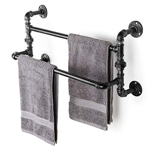 Hunter Garden Crafts Industrial Double Tiers Metal Pipe Wall-Mounted Towel Bar Towel Rack