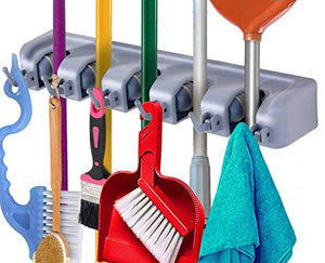 WEN WEN HOME Broom Holder and Garden Tool Organizer for Rake or Mop Handles, 5 Position with 6 Hooks, Up to 7-12 pounds and 1.25-Inches(Grey)