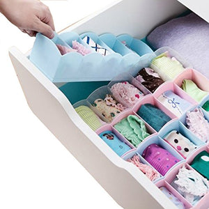 5PCS Plastic Drawer Organizer , Bra & Underwear Closet Bin Dresser Cube Basket With 5 Grids , Stackable Bathroom & Kitchen Office Container Divider Box For Socks , Ties , Scarves , Ring Color Random