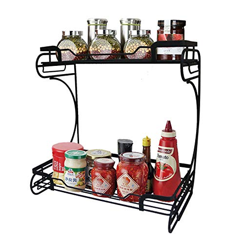 FORNY Dual Tier Kitchen Counter-top Spice Storage Rack Bathroom Organizer(Black)