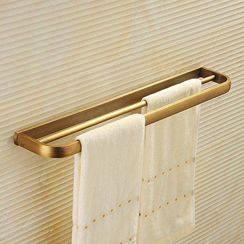 Ping Bu Qing Yun Towel Rack - All Copper, Simple European Antique Brushed Bathroom Perforated Hardware Double Towel Rack, Suitable for Bathroom, Home - 57.5X10cm Towel Rack (Color : Gold)