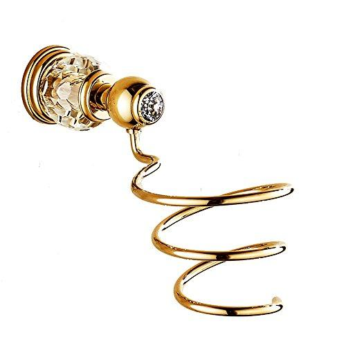 AUSWIND Gold Brass Crystal Hair Dryer Holder Wall Mounted Bathroom Rack