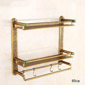 CWJ Bathroom Hardware Wall Hanging Pole Antique European Style Antique Widening Shelf Cosmetic Stand Retro Belt Hook Towel Rack