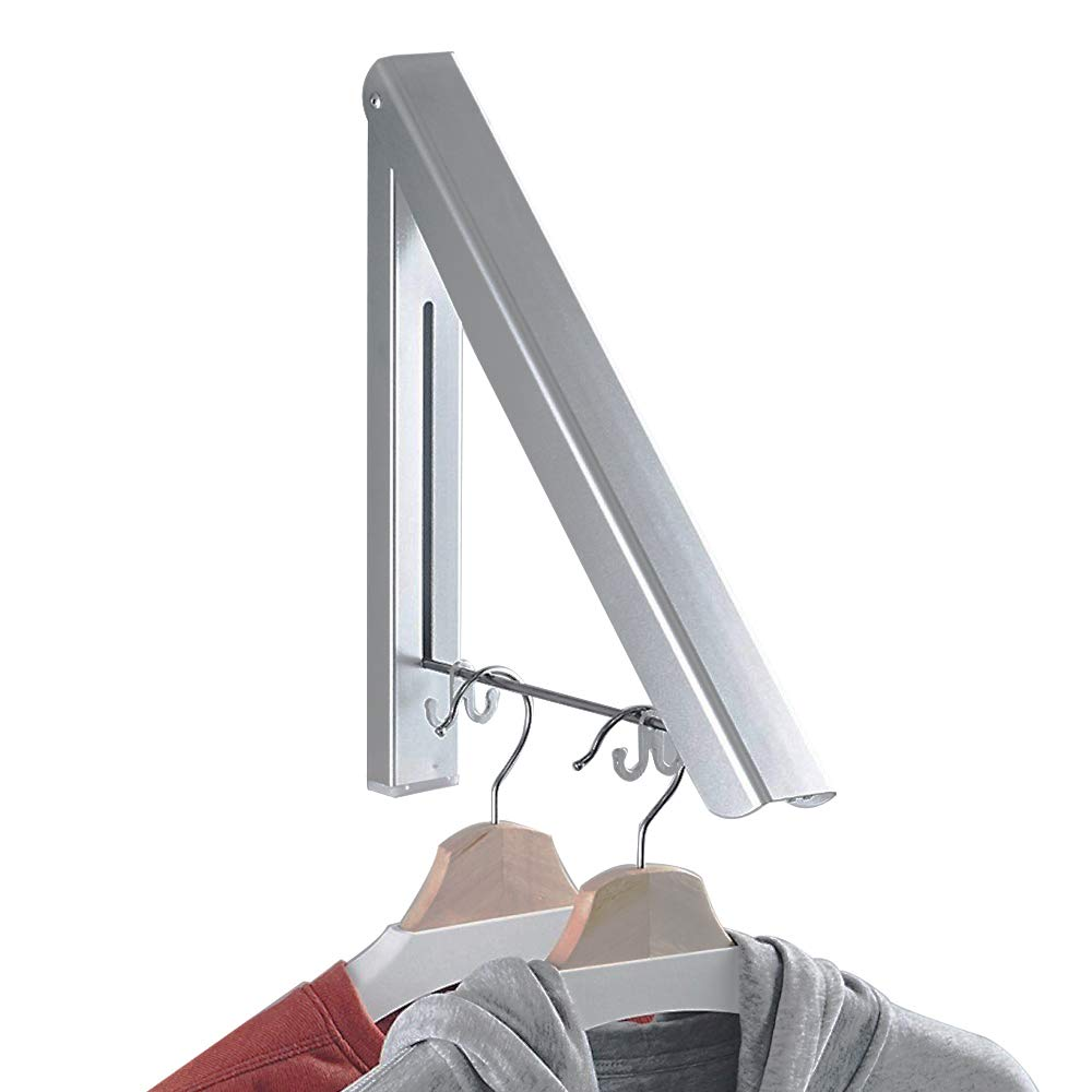 BESy Adhesvie Folding Clothes Hanger Adjustable Drying Rack Retractable Coat Hanger Home Storage Organizer,Either Drill Free with Glue or Wall Mounted with Screws, Aluminum(1 Pcs)