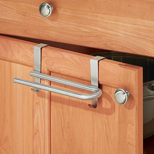 "mDesign Over-the-Cabinet Curved Kitchen Dish Towel Bar Holder - 8"", Brushed Stainless Steel"