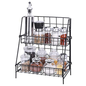 Kufox 2-Tier Spice Rack, Metal Wire Spice Organizer Shelf, Multifunctional Storage Organizer Rack for Kitchen, Pantry and Bathroom, Black