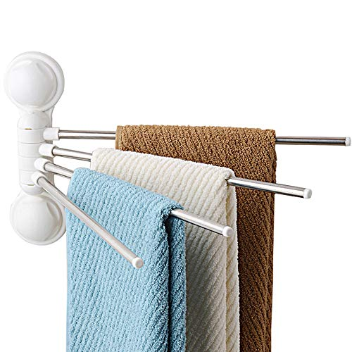 Ping Bu Qing Yun Towel Rack - Copper, Punch-Free, Four-bar, 180° Activity, Versatile Wall-Mounted Bathroom Activity Towel Rack, Suitable for Bathroom, Home Towel Rack