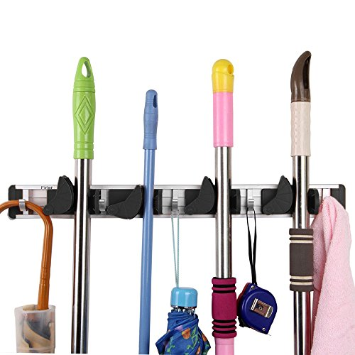 Pannow Mop and Broom Holder, Professional Tool Storage and Hanger,Garden Tool Organizer,Wall Mounted Organizer,4 Slots and 4 Hooks,Easy to Install,Best for Home, Kitchen and Garage