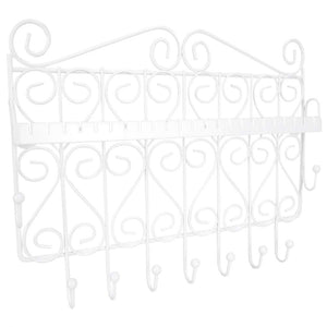 Home Basics Decorative Wall Mounted Jewelry Organizer Rack for Necklaces, Bracelets, Earrings, Rings and More (White)