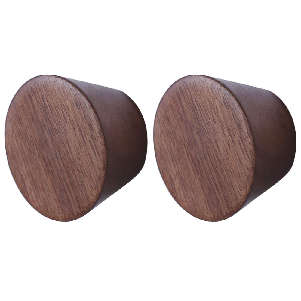 Exttlliy 2Pcs Natural Wooden Nordic Style Wall Mounted Coat Hooks Creative Decorative Single Hat Rack Hanger (Small, Black Walnut)