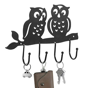 Decorative Owl Design Black Metal 4 Key Hook Rack/Wall Mounted Hanging Storage Organizer