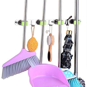 RANRANHONME Mop Broom Holder,Stainless Steel Heavy Duty Broom Mop Handle Holder Kitchen Garage 3 Hooks
