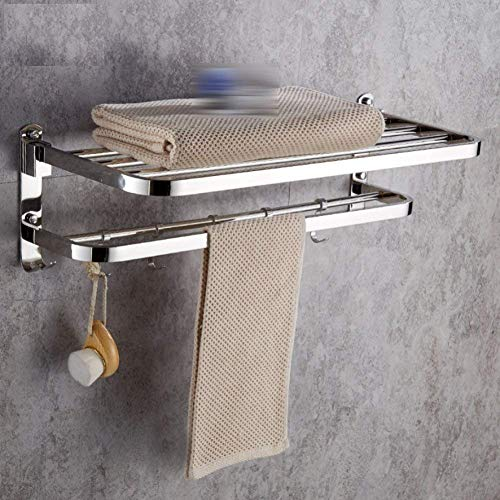 LGSYSYP Bathroom accessories/towel towel rack storage rack double folding belt hook wall mounted towel rack stainless steel mirror silver towel rack European pendant decoration indoor bath towel /