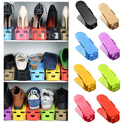 Aosreng 2Pcs/Lot Plastic Shoes Cabinet Storage Shelf Shoes Rack Double Layer Holder Shoes Organizer Space Saving Shoe Stand Adjustable Green Color
