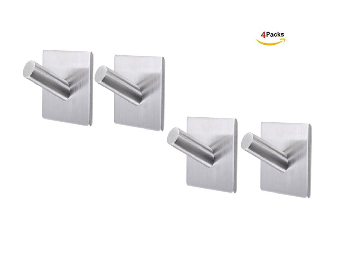 3M Self Adhesive Bath Hooks - Stainless Steel Bathroom Towel Hook,Heavy Duty Stainless Steel Coat Hanger for Hanging 4 Packs