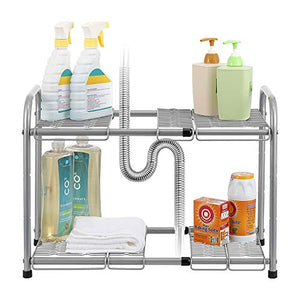 NEX 2-Tier Under Sink Shelf Organizer Under Sink Storage Rack with Flexible & Expandable 15'' to 27''for Kitchen Bathroom Cabinets