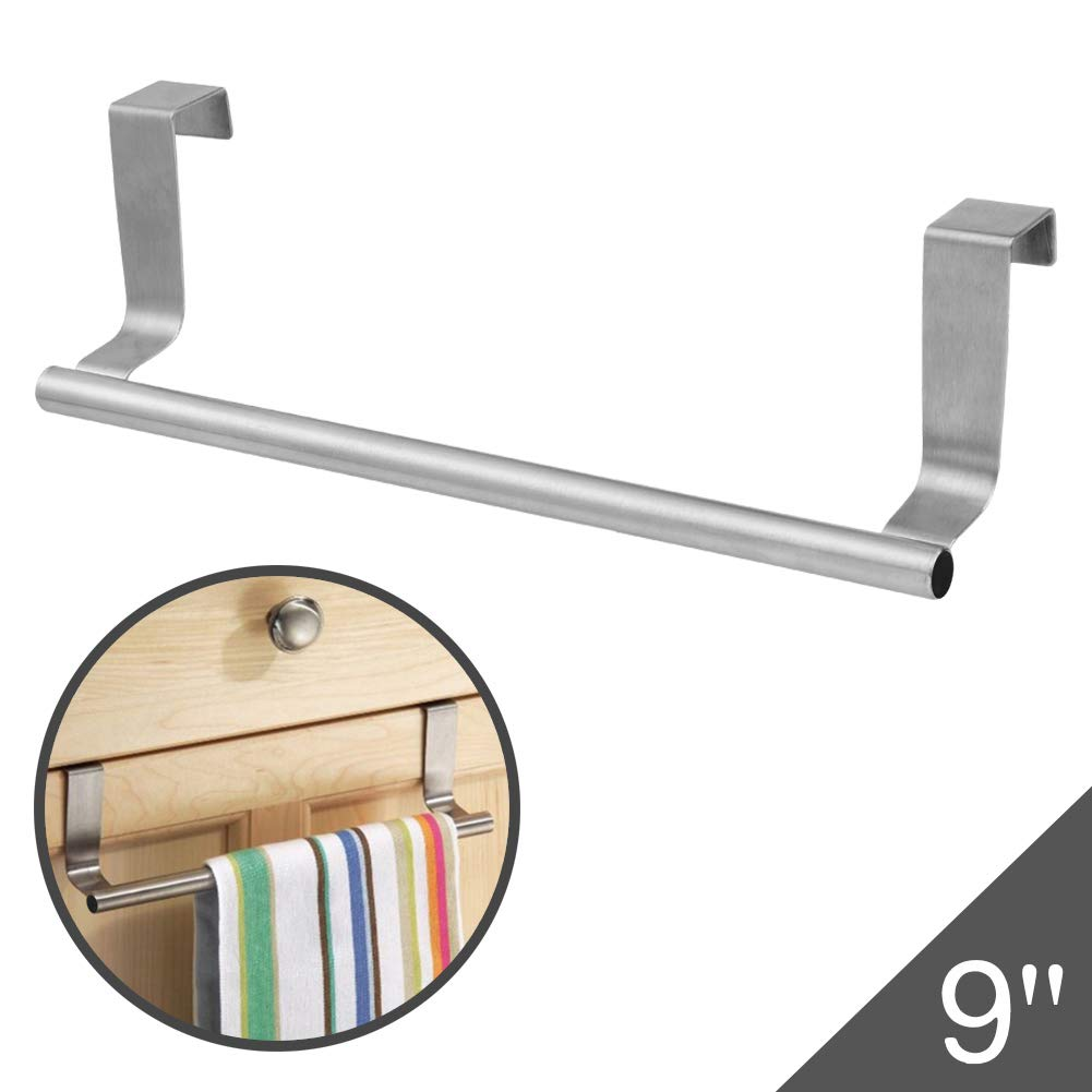 "Over The Door 9"" Dish Towel Bar Rack Hanger Holder Stainless Steel with 22 Lbs Maximum Load - Effortless Installation on Any Bathroom and Kitchen"