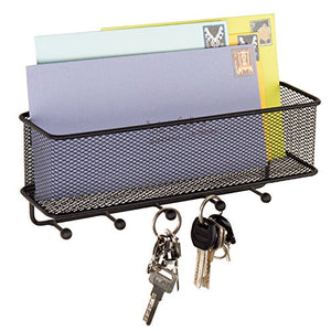 MyGift Black Metal Mesh Wall-Mounted Mail Holder Basket with 5 Key Hooks