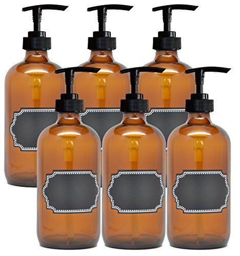 6 Pack Firefly Craft Amber PLASTIC Pump Bottles with Chalkboard Labels, 16 ounces each