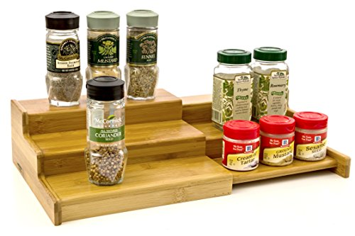 Expendable Spice Rack, Spice Shelf, Spice Storage Organizer 3 Tier Made of Organice Bamboo by Intriom Bamboo Collection