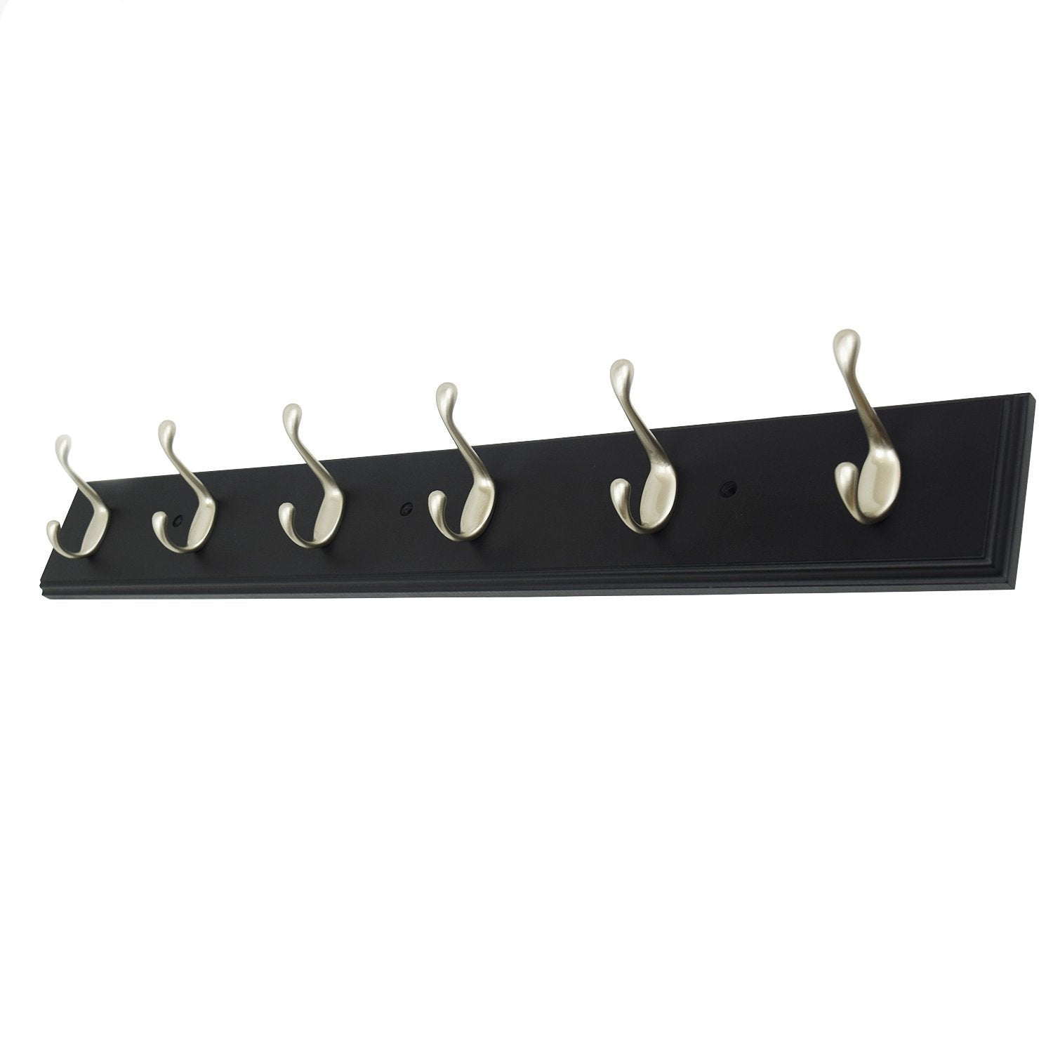 4 Inch Wide Brown Rail/Rack with 1 Heavy Duty Satin Nickel Coat and Hat Hook, Entryway Rack/ Bathroom Towel Hanger, Made in USA