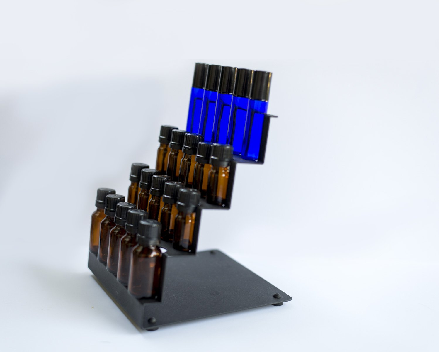 Essential Oil Counter Storage Rack for Organizing and Storing Oils - Holds 20 bottles - Stores 5 ml to 15 ml and Rollerball Bottles - Standing Display Rack for Home and Office (Black)
