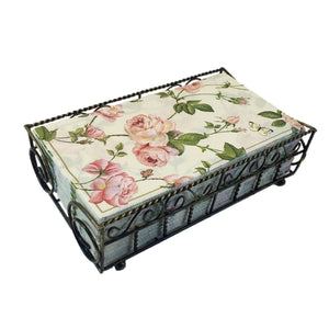 Garden Gate Antique Brass Guest Towel Caddy with 32 Count 3-Ply Paper Guest Towel Napkins, Rambling Rose