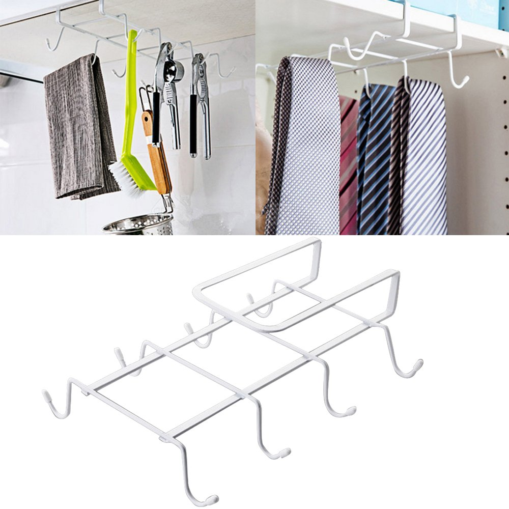 Kangkang@ Multifunctional Wardrobe Bathroom Cupboard Kitchen Hanger Hook Storage Shelves with 8 Hooks White