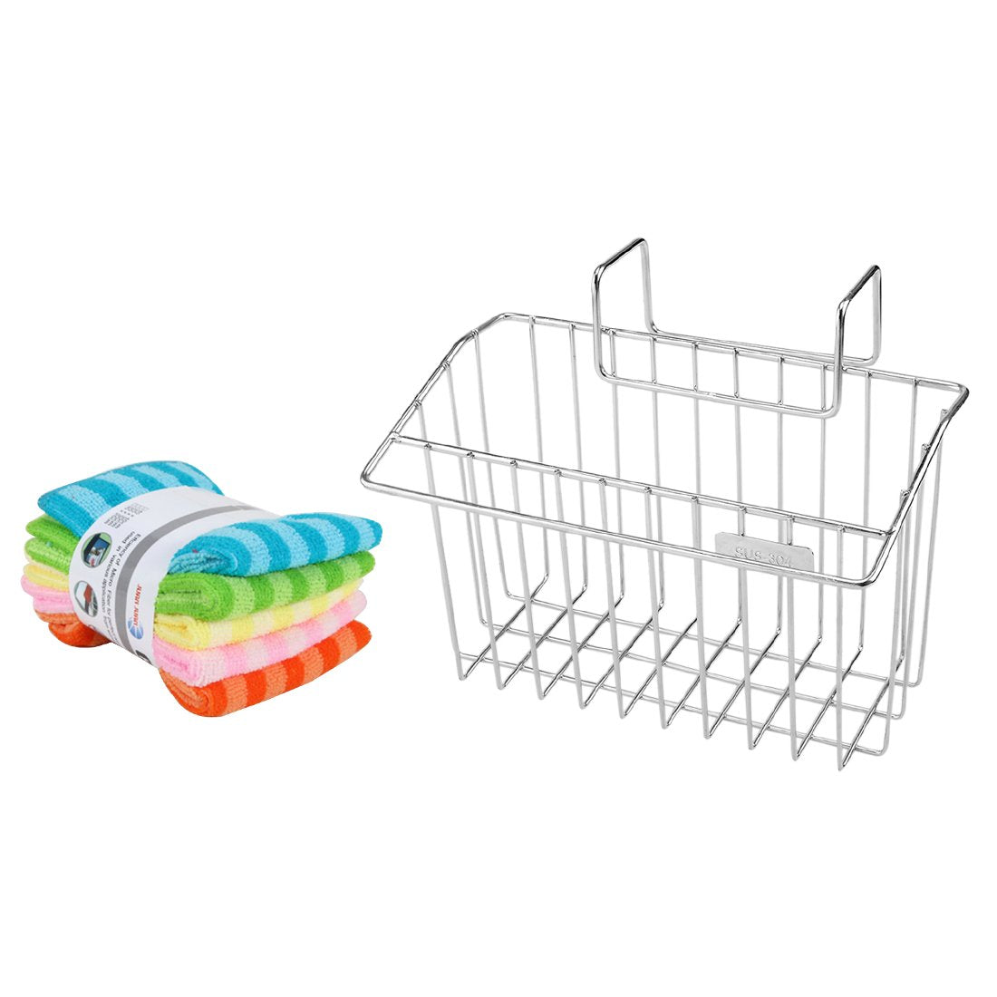 Peleustech Sink Hanging Rack + 5 Dishcloths, Stainless Steel Storage Box Draining Kitchen Soap Sponge Holder Rack Brush Sponge Sink Draining Towel