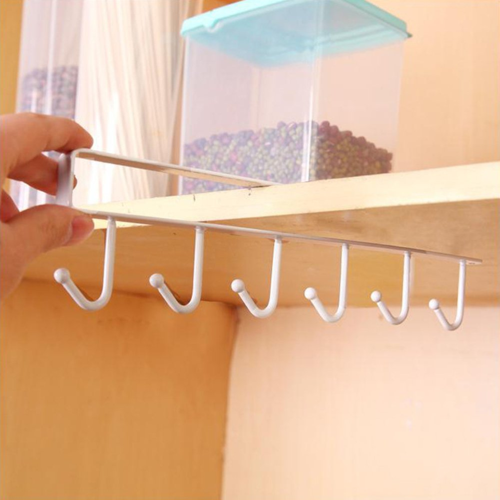 Kitchen Hanging Utensil Storage Rack Cupboard Hanging Hook Hanger Chest Organizer Cupboard Hook Shelf Dish Holder (White)