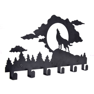 Balck Iron Bathroom 6 Hooks Hanger Towel Coat Clothes Wall Mount Rack Hook (Wolf)