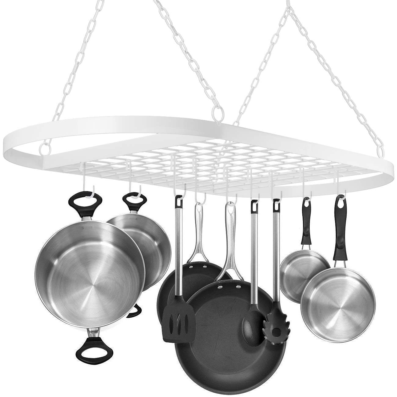 Sorbus Pot and Pan Rack for Ceiling with Hooks — Decorative Oval Mounted Storage Rack — Multi-Purpose Organizer for Home, Restaurant, Kitchen Cookware, Utensils, Books, Household (White)